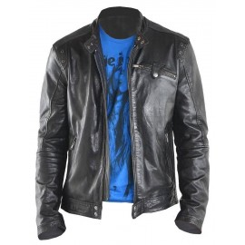 NYC Top Grade Real Lambskin Leather Jacket in Biker Style